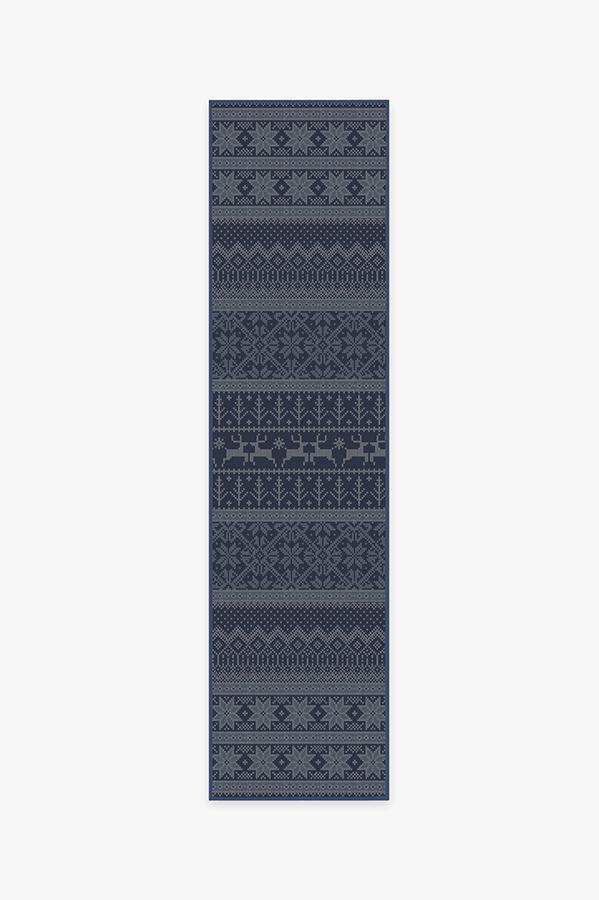 Washable Rug Cover | Fair Isle Blue Rug | Stain-Resistant | Ruggable | 2.5'x10'
