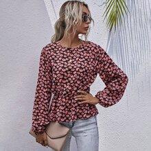 Camisa peplum de manga farol con estampado floral