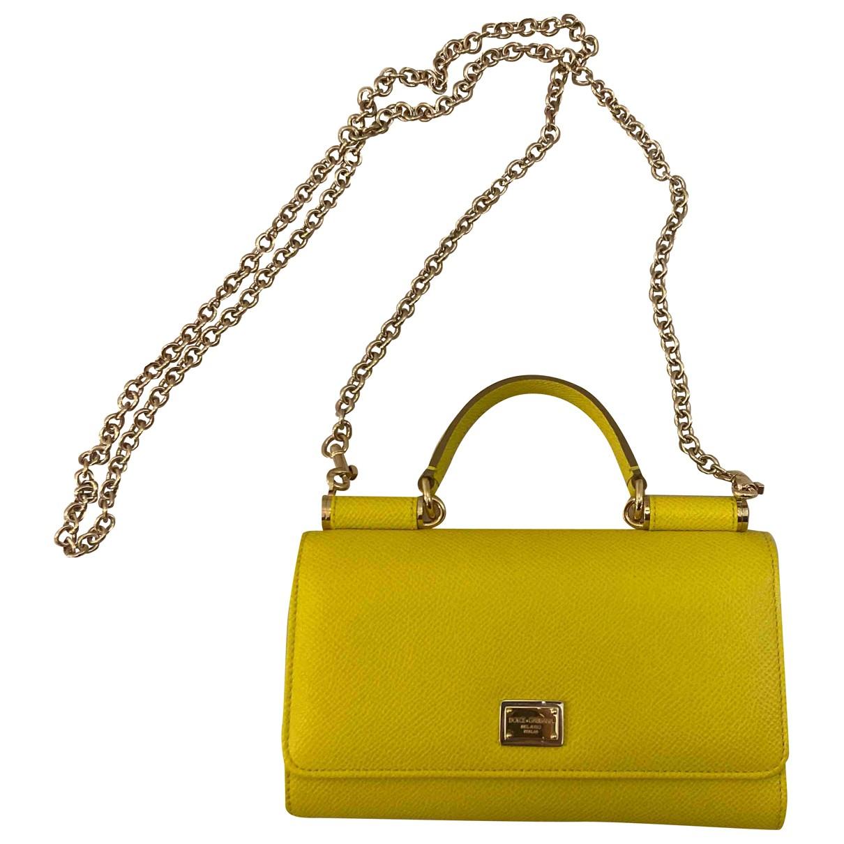 Dolce & Gabbana - Pochette Sicily pour femme en cuir - jaune