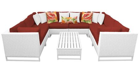 Miami MIAMI-09a-TERRACOTTA 9-Piece Wicker Patio Furniture Set 09a with 4 Corner Chairs  4 Armless Chairs and 1 Coffee Table - Sail White and