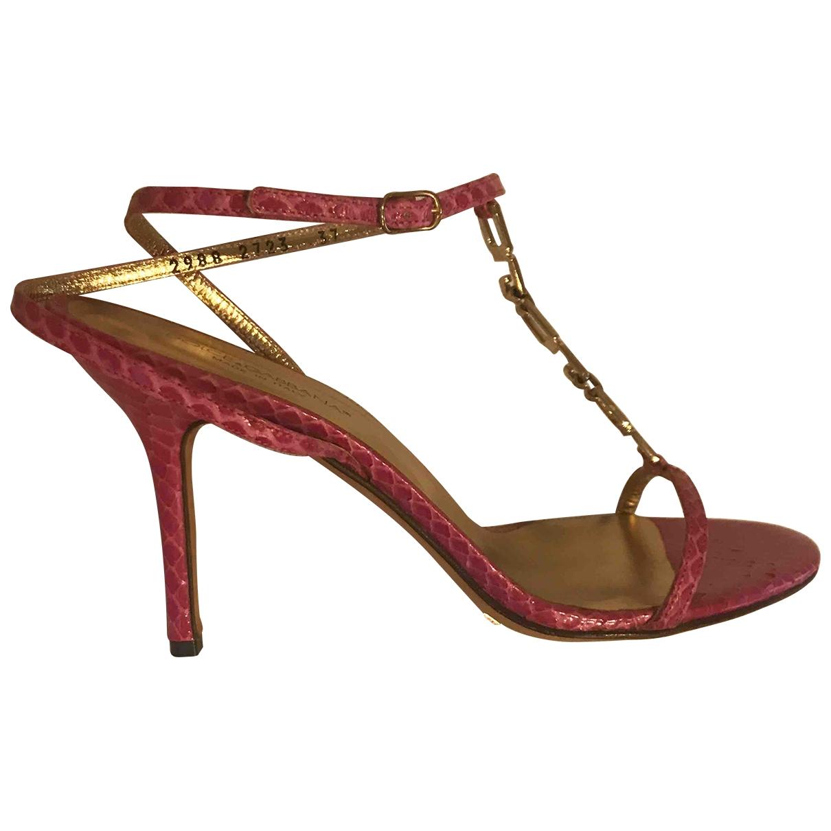 Dolce & Gabbana \N Pink Python Sandals for Women 37 IT