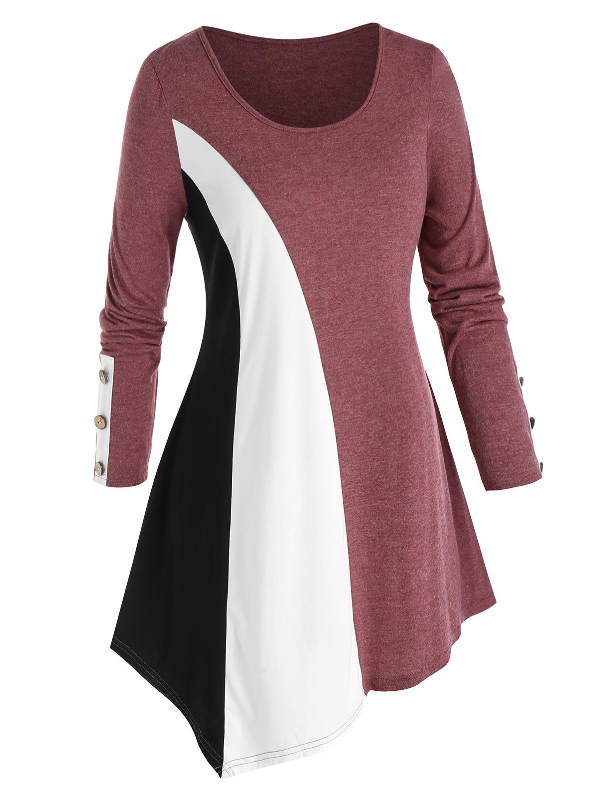 Plus Size Asymmetric Colorblock T Shirt