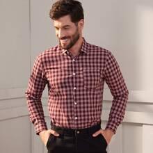 Men Gingham Pocket Button Front Shirt