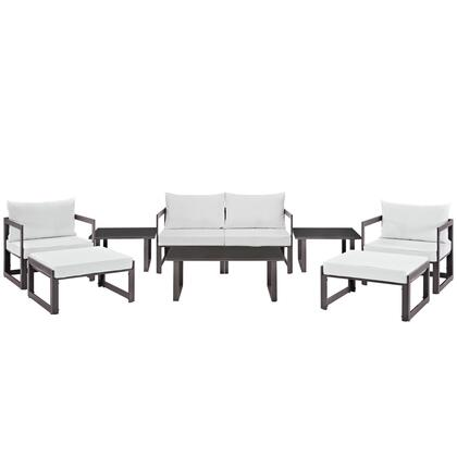 Fortuna Collection EEI-1719-BRN-WHI-SET 9 PC Outdoor Patio Sectional Sofa Set with Black Plastic Base Glides  Powder Coated Aluminum Frame and