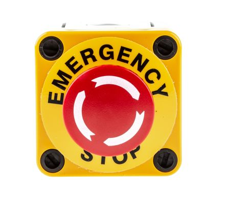 APEM Surface Mount Mushroom Head Emergency Button - NC, Twist to Reset, 40mm, Red/Yellow/Grey