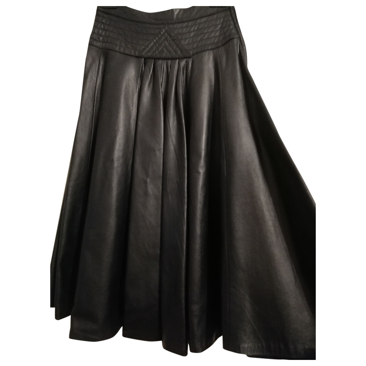 Non Signé / Unsigned \N Black Leather skirt for Women 40 IT