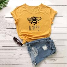 Bee & Letter Graphic Short Sleeve Tee
