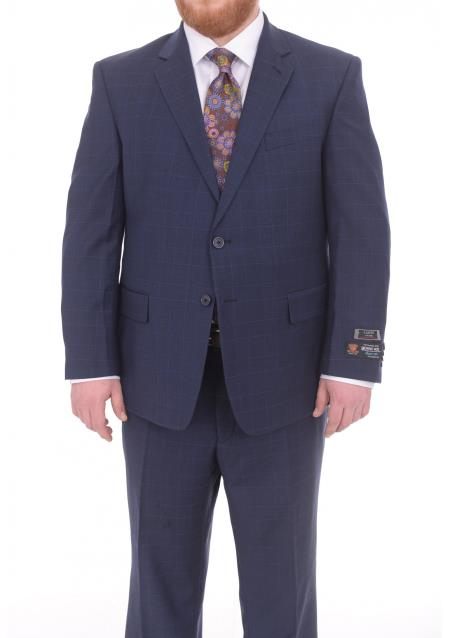 Men's 2 Button Portly Fit Blue Plaid Pattern With Overcheck Wool Suit