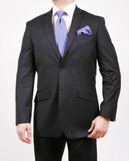 2 Button Black Shadow Striped Suit Mens Cheap