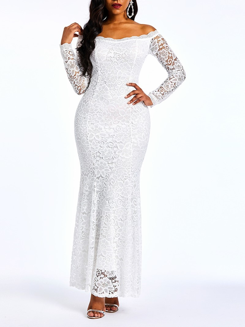 Ericdress Lace Floor-Length Off Shoulder Plain Mermaid White Dress