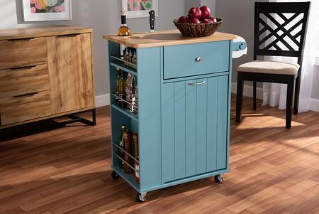Liona Collection RT599-OCC-NATURAL/SKYBLUE-CART Kitchen Storage Cart with Contemporary Style and Rubberwood Frame Construction in Blue and Natural