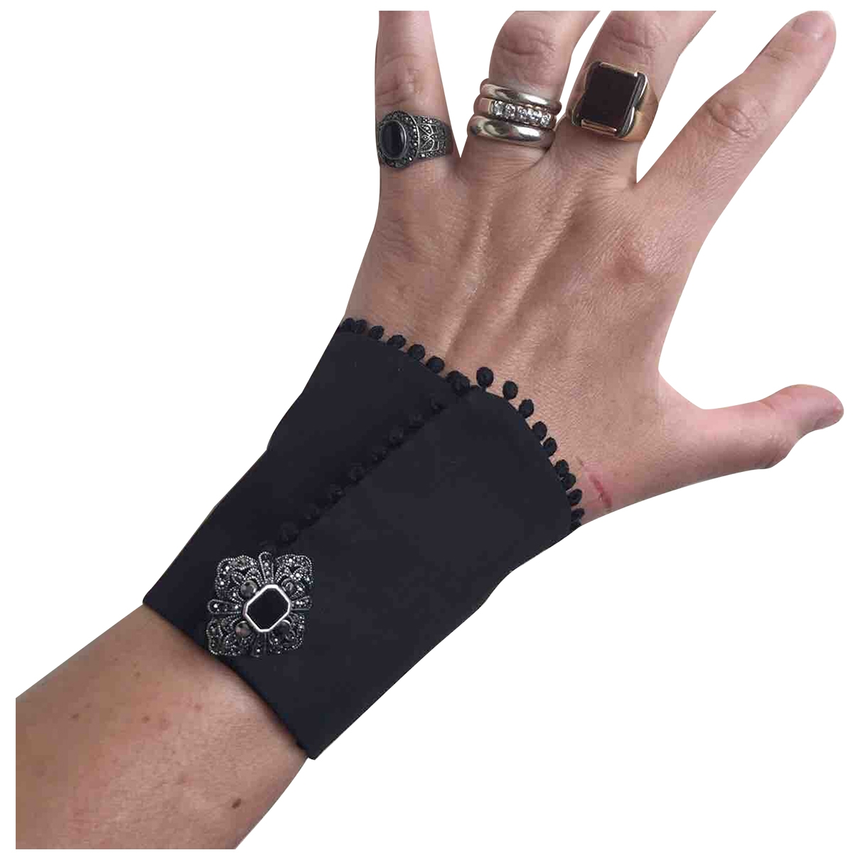 Non Signé / Unsigned \N Black Cloth bracelet for Women \N