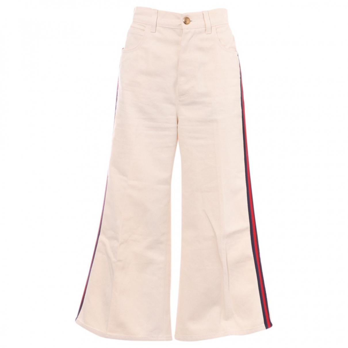 Gucci - Jean   pour femme en coton - blanc