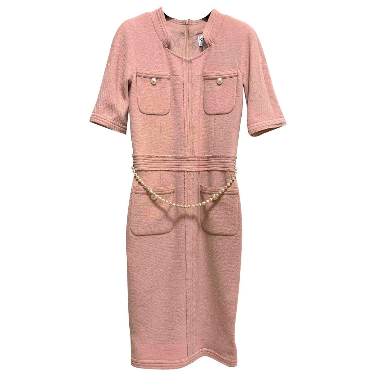 Chanel - Robe   pour femme en laine - rose