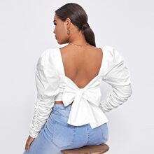 Plus Sweetheart Neck Tie Back Ruched Top