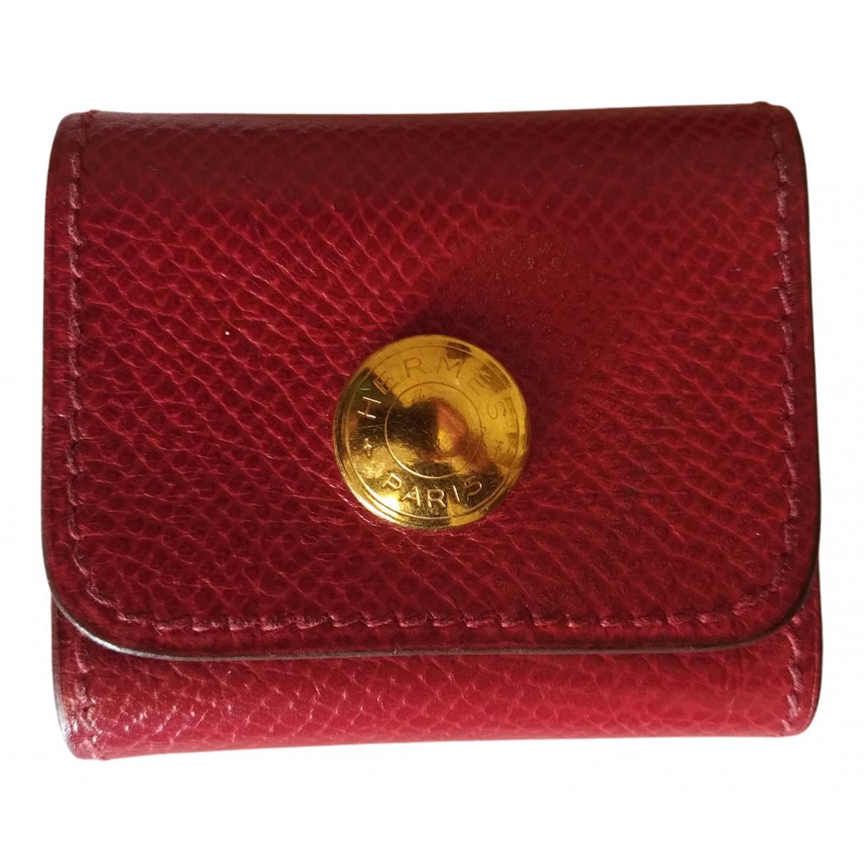 Hermes - Portefeuille   pour femme en cuir - rouge