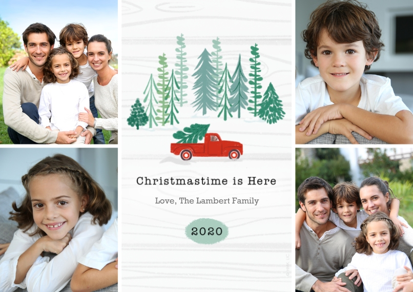Christmas Photo Cards Flat Matte Photo Paper Cards with Envelopes, 5x7, Card & Stationery -2020 Red Farm Truck Rustic Photo Collage - Large by Hallmar