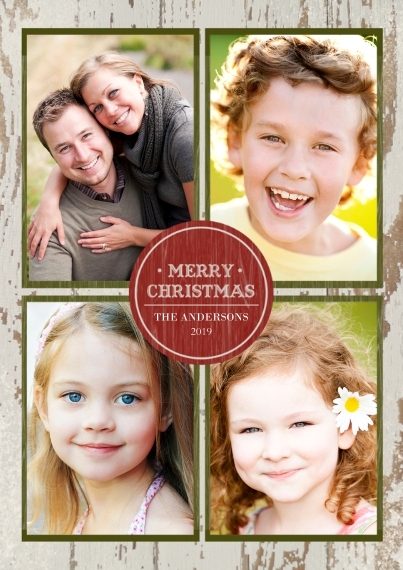 Christmas Photo Cards 5x7 Cards, Premium Cardstock 120lb with Rounded Corners, Card & Stationery -Rustic Merry Christmas