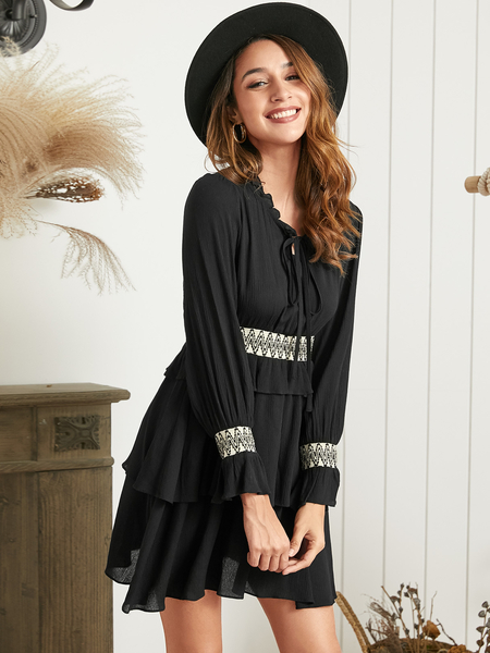 YOINS Black Ruffle Trim Patchwork Round Neck Long Sleeves Dress