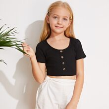 Girls Button Front Rib-knit Crop Top