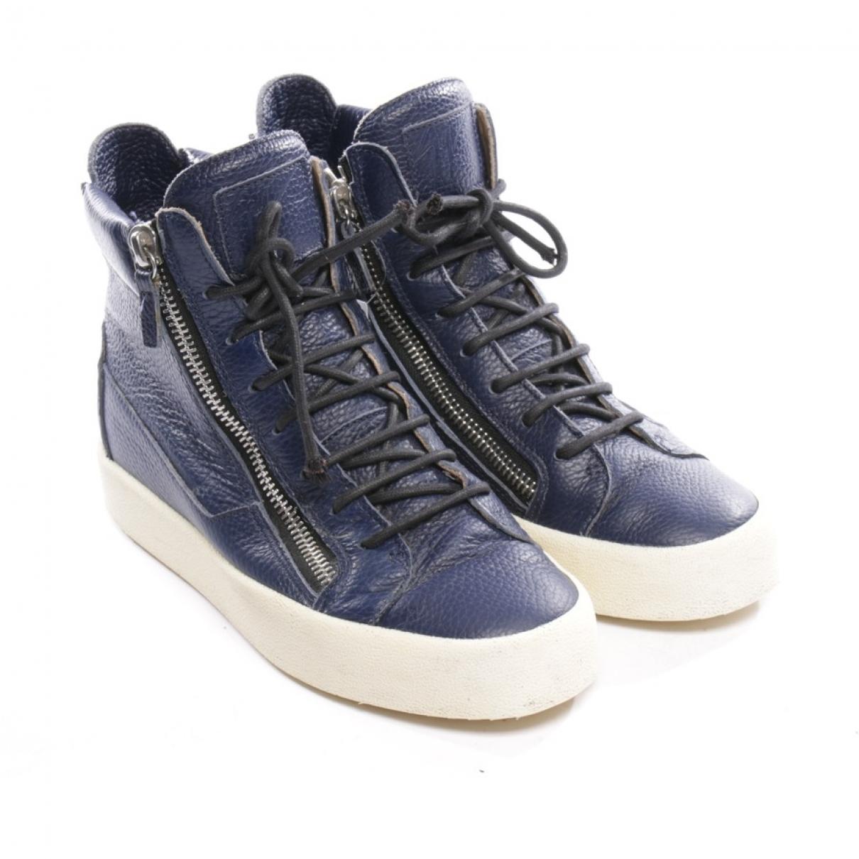 Giuseppe Zanotti - Baskets   pour femme en cuir - bleu