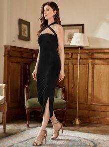Crisscross Halter Solid Dress