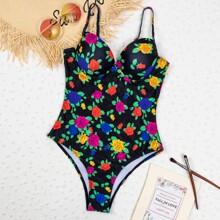 Floral & Leaf Print One Piece Swimsuit