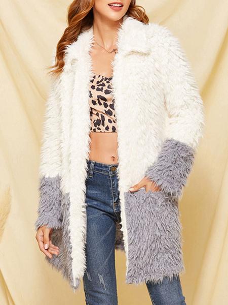 Milanoo Abrigos de piel sintetica para mujer, manga larga, bloque de color informal, cuello vuelto, abrigo blanco de invierno