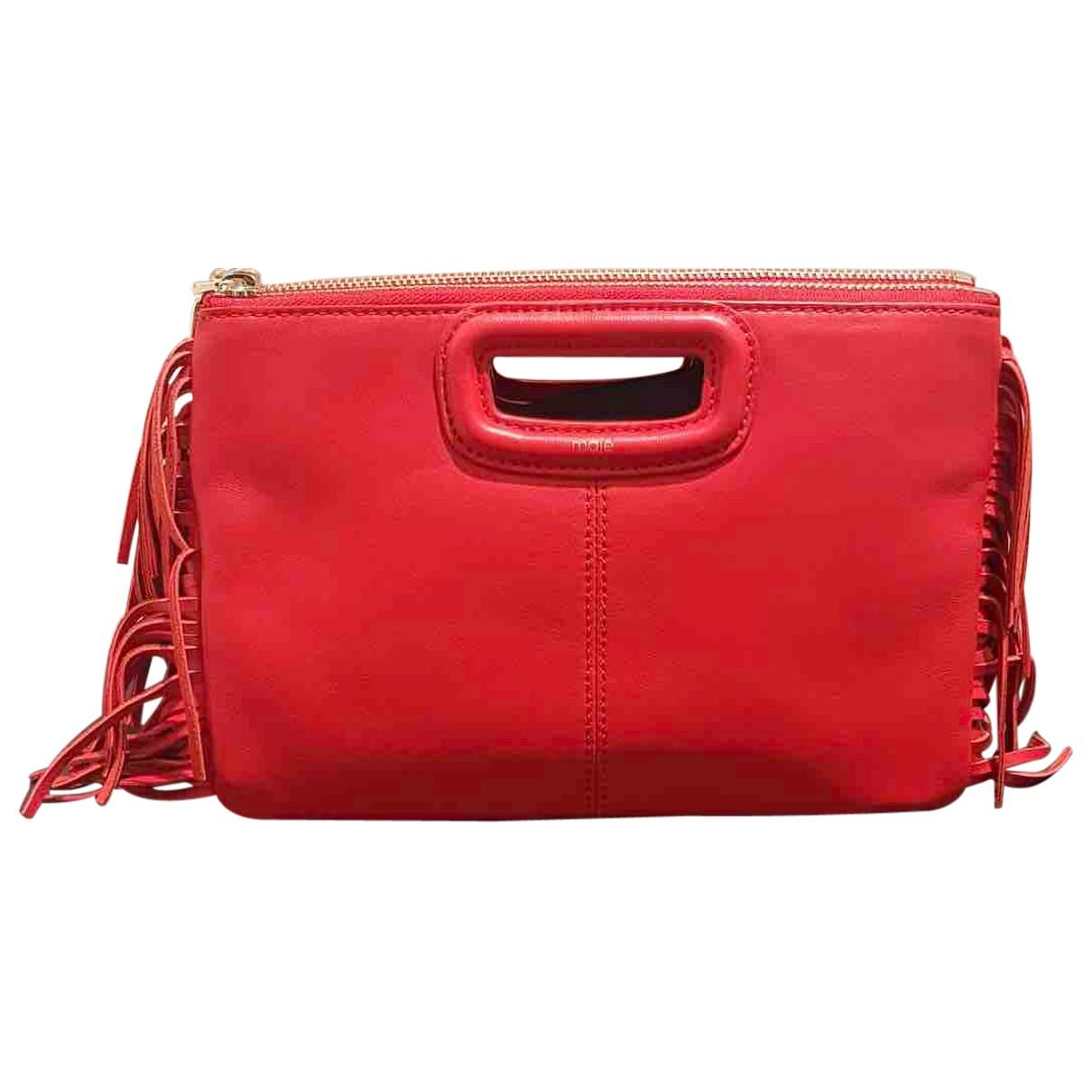 Maje - Pochette Sac M pour femme en cuir - rouge