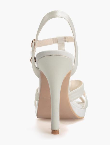 Milanoo Blue T-Bar Wedding Sandals Platform Satin Bridal Shoes