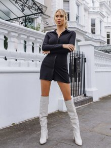Collared Buttoned Front Rib-knit Dress