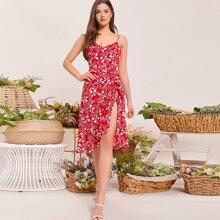 V-Back Ruched Split Thigh Floral Print Slip Dress