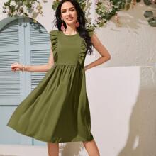 Solid Ruffle Trim A-line Dress