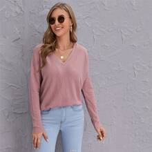 Drop Shoulder Rib-knit Top