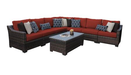 RIVER-08a-TERRACOTTA Kathy Ireland Homes and Gardens River Brook 8-Piece Wicker Patio Set 08a - 1 Set of Truffle and 1 Set of Cinnamon