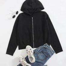 Plus Solid Zip Up Hooded Cardigan