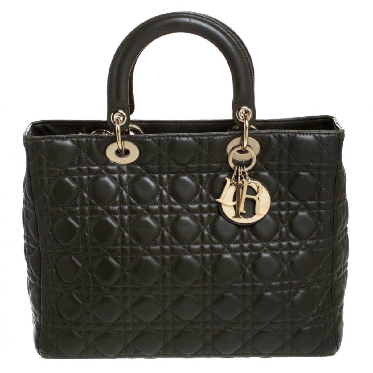 Dior Lady Dior Green Leather handbag for Women \N
