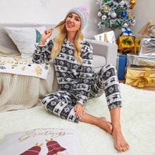 Flannel Christmas Print PJ Set