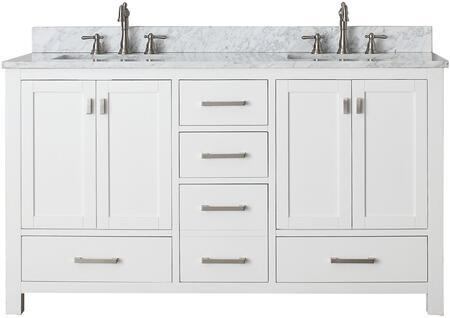 MODERO-VS60-WT-C Modero Collection 60 Vanity Combo with Brushed Nickel Finished Hardware  Drilled Faucet Holes  Soft Close Doors  Soft Close Drawers