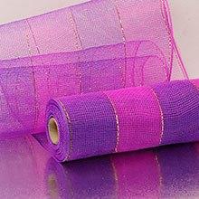 10X10 Yards Hot Pink/Prpl 2-Clrd Wide Strp Deco Mesh Metallic - Wraps Width: 10 Length: 10 yd by Paper Mart