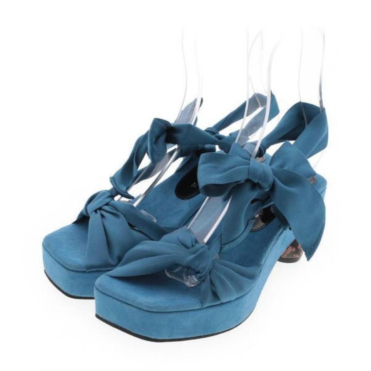 Dries Van Noten \N Sandalen in  Blau Leinen