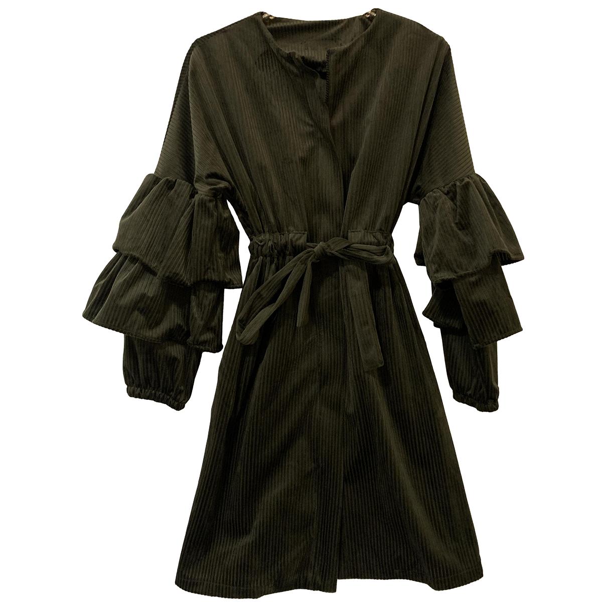 - Manteau Manche ballon pour femme en velours - vert