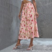 Chiffon Rock mit Blumen Muster und elastischer Taille