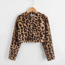 Crop Mantel mit Leopard Muster und Kunstpelz