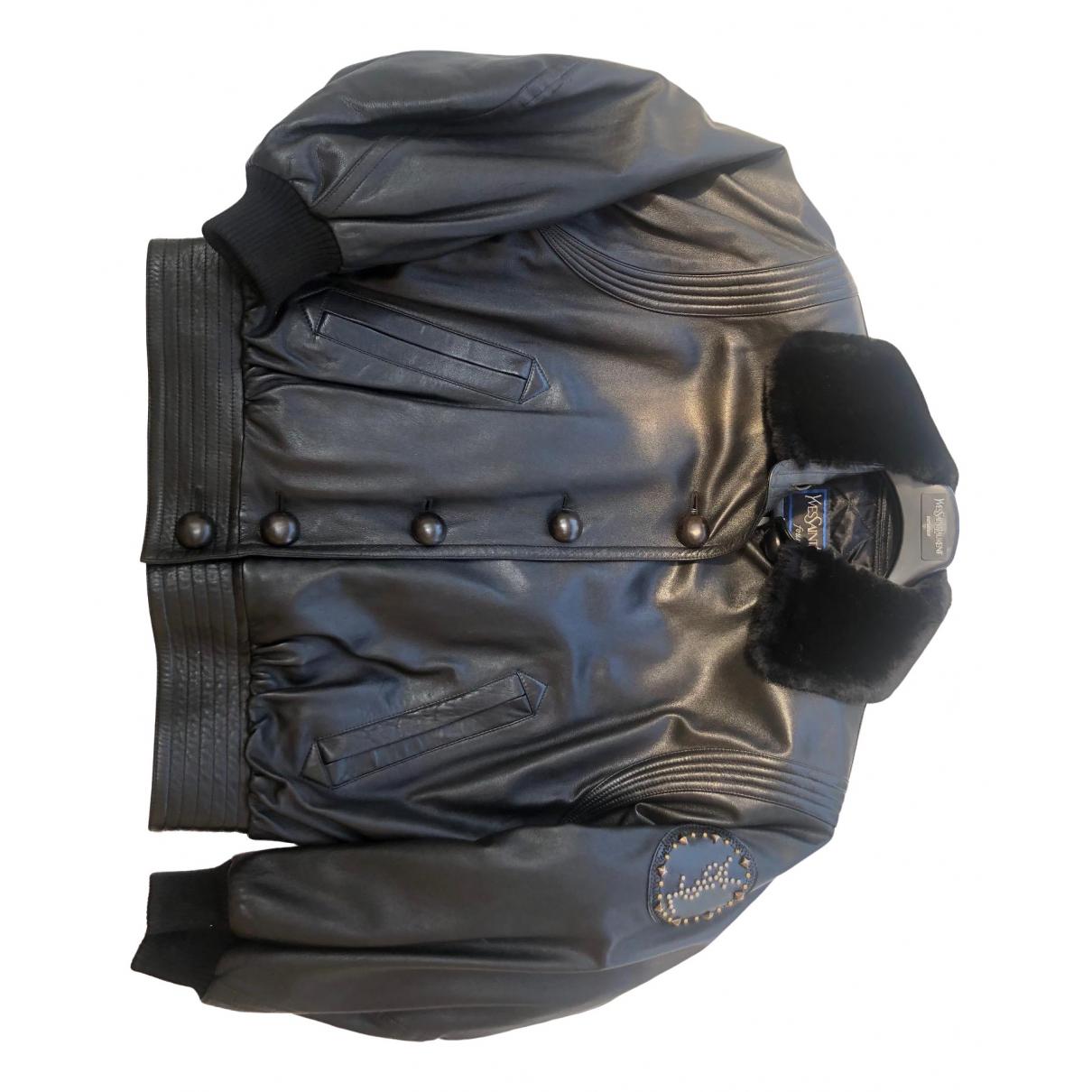 Yves Saint Laurent \N Lederjacke in  Schwarz Leder