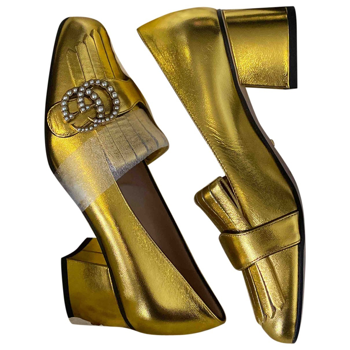 Gucci Marmont Gold Leather Heels for Women 36 EU