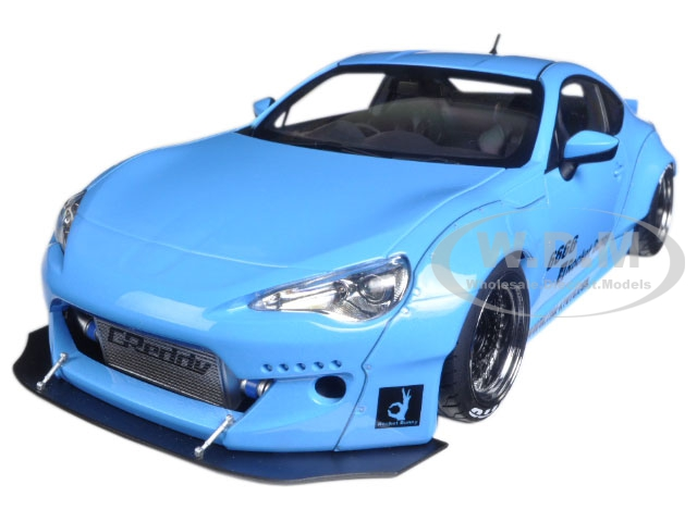Rocket Bunny Toyota 86 Metallic Sky Blue with Black Wheels 1/18 Model Car  by Autoart