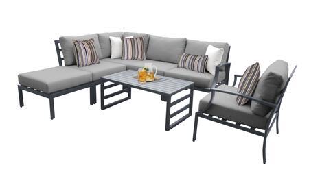 Lexington LEXINGTON-07f-GREY 7-Piece Aluminum Patio Set 07f with 1 Right Arm Chair  1 Club Chair  1 Coffee Table  1 Ottoman  1 Corner Chair and 2