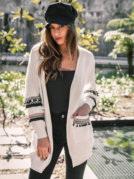 Milanoo Boho Sweaters Cardigans Grey Two-Tone Long Sleeves Cardigans