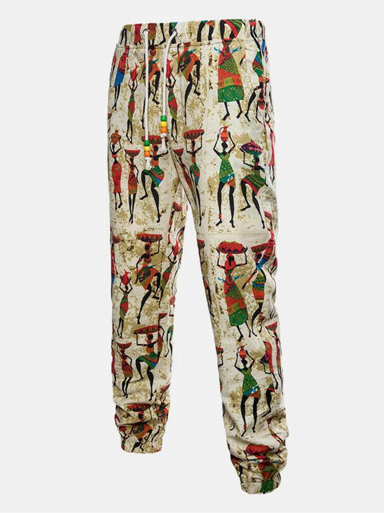 Mens Ethnic Funny Printing Slim Fit Drawstring Casual Pants